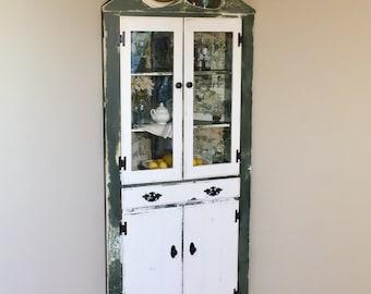 Corner Kitchen Hutch - Farmhouse Furniture - Kitchen Hutch Cabinet - Green Cabinet - Corner Dining Room Hutch - Farmhouse Hutch