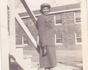 Antique Snapshot Photo of Beautiful African American Women in Military Uniform