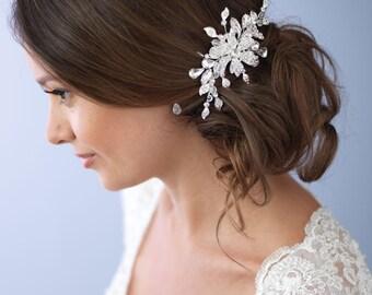 Crystal & Rhinestone Floral Comb, Bridal Accessories, Silver Hair Accessories, Floral Bridal Hair Comb,Rhinestone Wedding Headpiece ~TC-2263