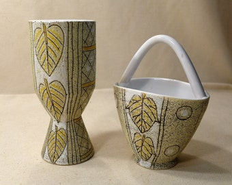 Italian Pottery Vase and Basket Planter Set Hand Painted Green Yellow Leaf Geometric Design Made in Italy Mid Century Modern Ceramic TIL