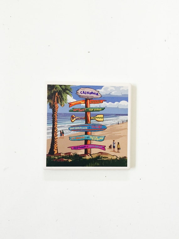 California Beach Coasters / California Decor / California Coasters / Dorm decor /aloha coasters / aloha gifts / vintage
