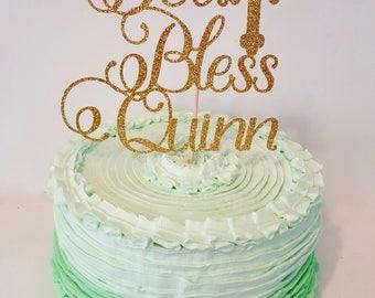 God Bless Cake topper name customizable gold glitter cross communion baptism christening party decor