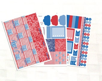 July Monthly View Patriotic Planner Sticker Kit, Vinyl Stickers, Independence Day, Fouth of July, Erin Condren Sized