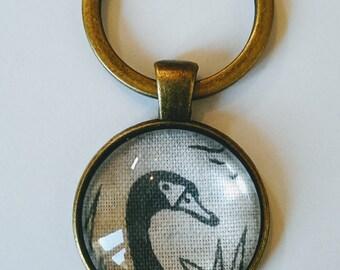 Swan Keyring, Gray Swan Keychain Pendant, Antique Bronze Glass Keyring, Bird Fabric Keyring