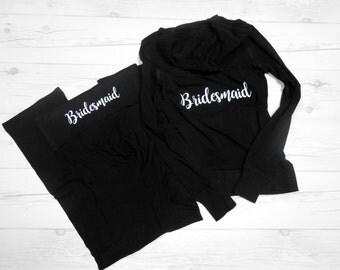 Bridesmaid Hoodie and Yoga Pants Package, Bridesmaid Sweatsuit, Bridesmaid Hoodie and Pants, Bridesmaid Outfit, Bridesmaids Outfits