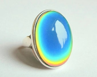 Mood Ring Sterling Silver 925 - 25x18 mm big large color changing stone