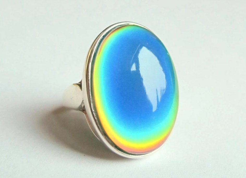 mood ring sterling silver 925 25x18 mm big large color