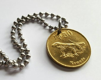1994 Indonesian Coin Necklace  - Stainless Steel Ball Chain or Key-chain - Lizard