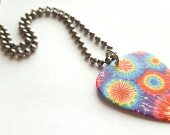 Bright Tye Dye Guitar Pick Necklace with Stainless Steel Ball Chain - hippie