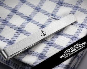 Custom Engraved tie clip - Anchor jewelry for men - Personalized tie clip sterling silver - Tie bar engraved