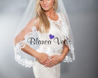 Lace Wedding Veil, Single Tier Veil