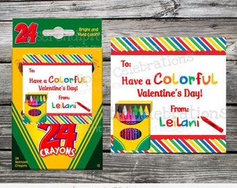 Printable Valentine Tags, Kids Crayon Valentine's Day Favors, Classroom Cards, Valentine's Day,  Kids Valentine Cards, DIY Valentine's Tags