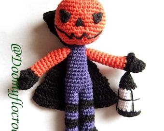 Amigurumi Halloween Jack O Lantern crochet cotton decoration doll with pumpkin head , black cape and lantern