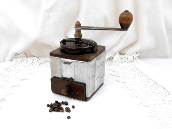 Vintage French Peugeot Fréres Stainless Steel Bakelite and Wooden Coffee Grinder, Retro Industrial Kitchen Decor from France, Kitchenware