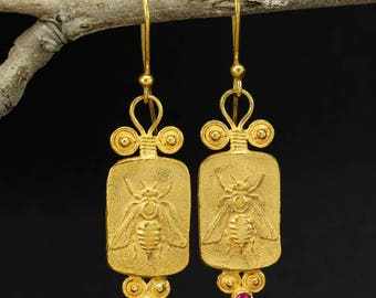 Handcrafted Artisan 24K Yellow Gold over 925 Sterling Silver Ancient Roman Byzantium Greek Art Granulated Designer Dangle Hook Coin Earrings