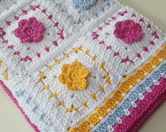 Crochet Pattern Spring Flowers Blanket PDF, uk and us versions No34 pink yellow blue baby newborn