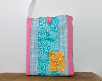 Repurposed Tote Bag, Batik Pattern, Turquoise Blue and Pink, Multicolored Bucket / Book Bag, Upcycled Recycled Repurposed, Pattern Blocking