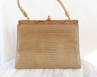 Vintage Rockabilly Tan Faux Snake Skin Clutch Handbag with Gold Accents