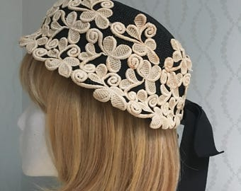 Modern Miss Black Woven Straw Hat with Ivory Lace