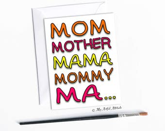 Mother's Day Card, Funny Birthday Card For Mom, Silly Mama, Mommy, Ma, Unique Handmade Cards