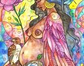 Fine Art Print, Creatrix, watercolor, mixed media, illustration.