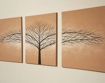 """Wall Art Canvas Painting Tree of Life Art Wall Decor Tree Paintings Home Decor Wall Hangings Light Brown 36""""x16"""" Original Painting"""