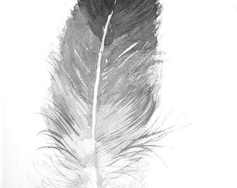 Black and White Feather wall art Feather painting 7 x 11 Home décor, Minimalist Art, Modern Art, Original watercolours