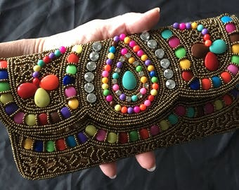 Embellished clutch evening bag bronze glass beading rhinestones multicolored beads zipper magnetic closing shoulder strap party wedding BOHO