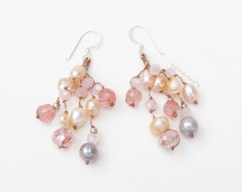 Pink peach gray freshwater pearl earrings with stone, crystal on silk thread - sterling silver ear wires, dangle earrings