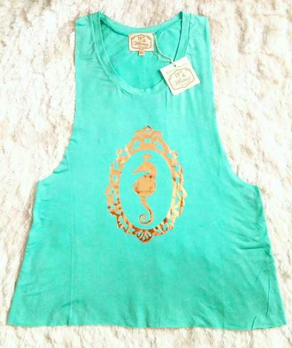 Seafoam Green With Gold Seahorse Cameo Muscle Tank