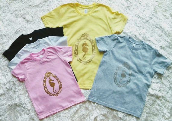 Sample Sale! Seahorse Cameo Kids Tee / More Colors!