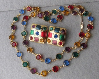 "Vintage 24k Gold Plated Primary Colors Open Back Crystal 30"" Long Necklace & Earrings"