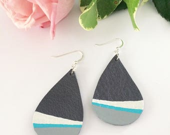 Leather earrings, teardrop earrings, painted leather, hand painted earrings, dipped earrings, summer accessory, turquoise earrings