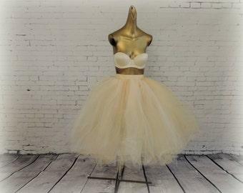 Tulle skirt Adult tea length bridal wedding tutu ivory champagne engagement photo prop wedding dress bridal tutu skirt bridesmade tutu