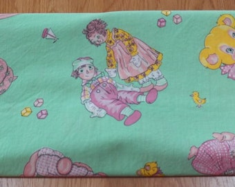 Vintage Novelty Juvenile RAGGEDY ANN & ANDY Fabric 2 Yards~Green/Pink w/Toys