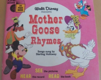 Vintage 70's Walt Disney's MOTHER GOOSE RHYMES Book/Record #312~~ 33 1/3 Rpm