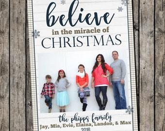 Photo Christmas Card | Rustic Christmas | Believe Christmas | Photo Holiday Card | Digital Christmas Card {P21}