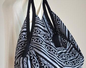 Nepali Fabric Design Hippie Shoulder Bag Gypsy Bag Boho Hobo Bag Tote Bag Crossbody Bag Diaper Bag Woven Cotton Handbag Purse (Diamond)
