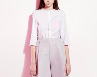 Trendy Linen Pants / Wide Linen Trousers / High Waist Pants / Grey Minimalist / Knee Length / Linen Culottes / Resort / Asian Style