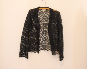 Black, Open-Front Lace Blouse - Early 90s
