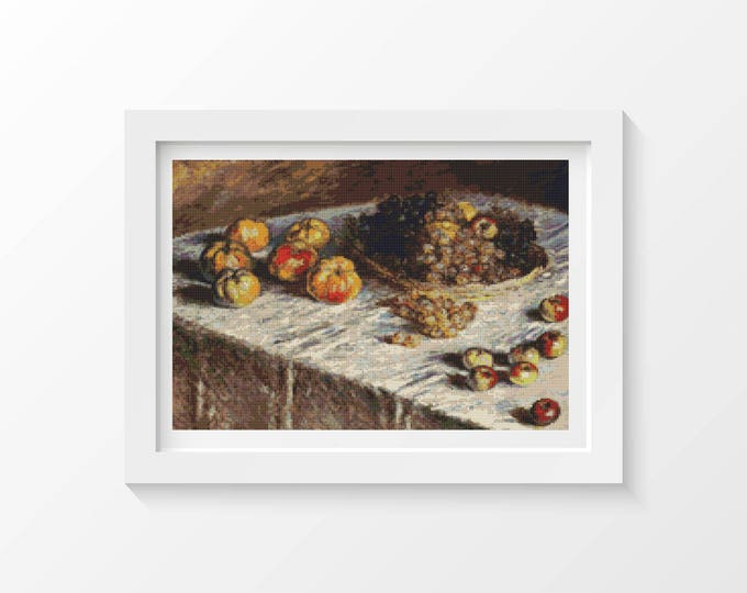 Cross Stitch Pattern PDF, Embroidery Chart, Art Cross Stitch, Food Cross Stitch, Still Life with Apples and Grapes by Claude Monet (MONET05)