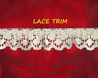 4-1/4 YARDS, CREAM 3/4 Inch, Ruffle Lace Sewing Trim, Scallop Edge, Double Circles, L323