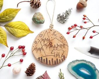 "Personalized Mountain Wood Slice Ornament - MEDIUM 2.75"", Natural Wood-Burned Ornament, Polar Bear Rustic Customized Wood Ornament"