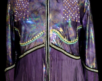 Lovely leather fringed show shirt
