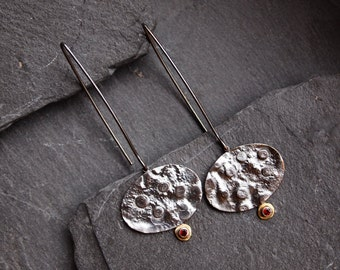 Long 925 silver earrings with red Garnet gems, Oxidized contemporary earrings, Artisan jewelry, Textured silver