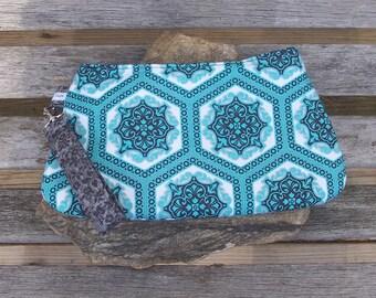 Aqua Damask Wristlet - Clutch Handbag Purse - Summer Aqua Damask Victorian  - Swoon Coraline