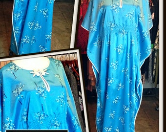 Vintage Turquoise Blue Caftan Maxi Long Dress FREE SHIPPING