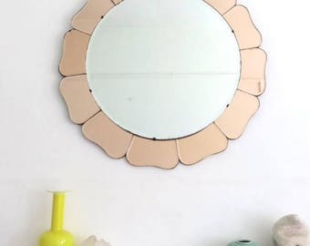 Vintage Extra Large Round Art Deco Bevelled Edge Wall Mirror