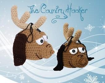 Crochet Christmas Reindeer Dog Hat Beanie Winter Festive Holiday Max