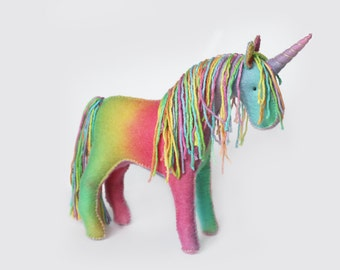 Rainbow Felt Unicorn , Stuffed Toy for Imaginative Play.